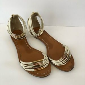 Tory Burch Mignon Rings Leather Strap Sandals 10